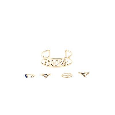 """Pisces"" Astrology Cuff Bracelet & Rings Set"