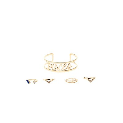 """Pisces"" Astrology Cuff Bracelet & Rings Set"