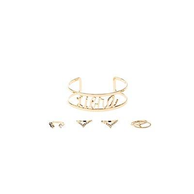 """""""Libra"""" Zodiac Cuff Bracelet & Rings Set"""