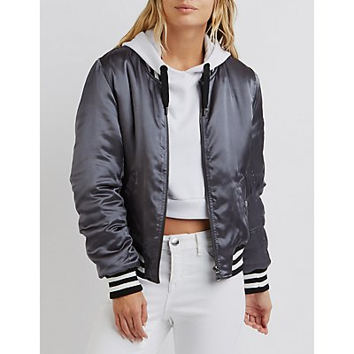 Satin Varsity Stripe Bomber Jacket