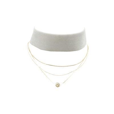 Velvet Choker & Layering Necklace - 2 Pack