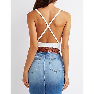 Strappy Scoop Neck Bodysuit