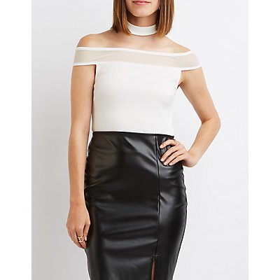 Floating Mock Neck Mesh-Trim Top