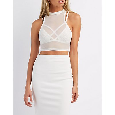 Mock Neck Mesh Crop Top