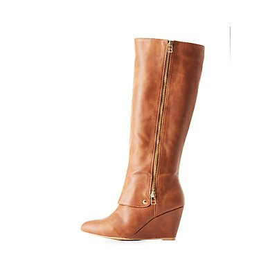 Qupid Knee-High Wedge Boots