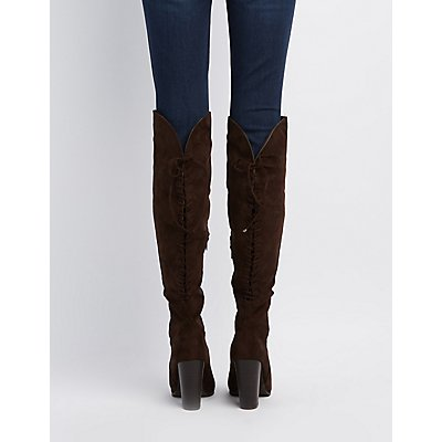 Lace-Up Back Over-The-Knee Boots