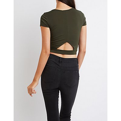 Wrapped Cut-Out Crop Top
