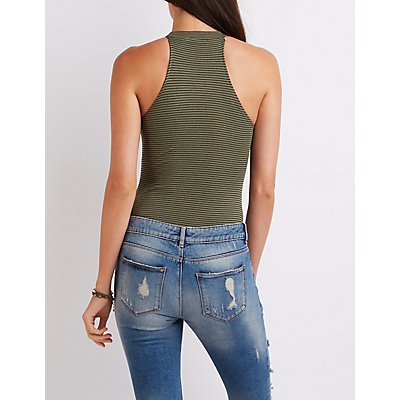 Ribbed Mock Neck Bodysuit