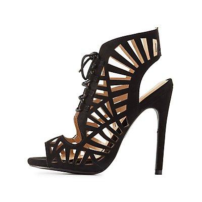 Qupid Laser Cut Lace-Up Dress Sandals
