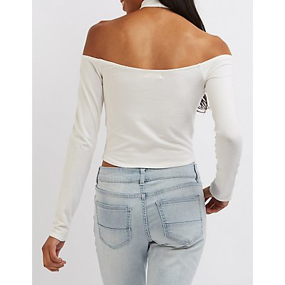 Mock Neck Cold Shoulder Crop Top