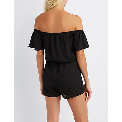 Off-The-Shoulder Notched Romper