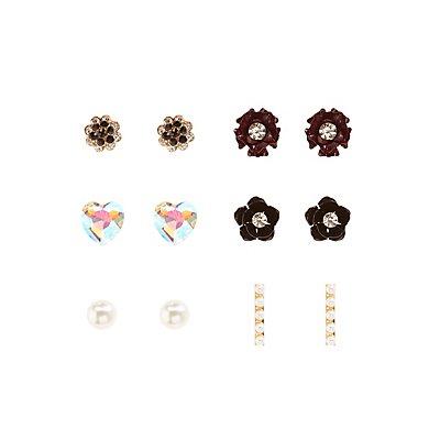 Floral & Embellished Stud Earrings - 6 Pack