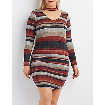 Plus Size Striped Cut-Out Mock Neck Dress