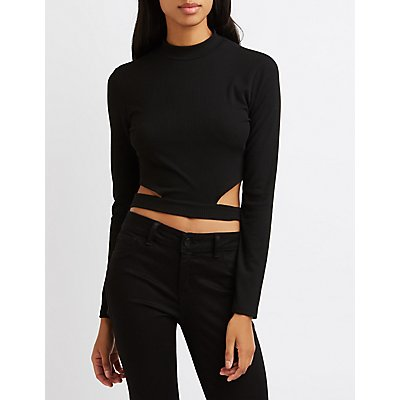 Ribbed Cut-Out Crop Top