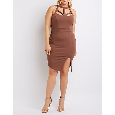 Plus Size Caged Cut-Out Bodycon Dress