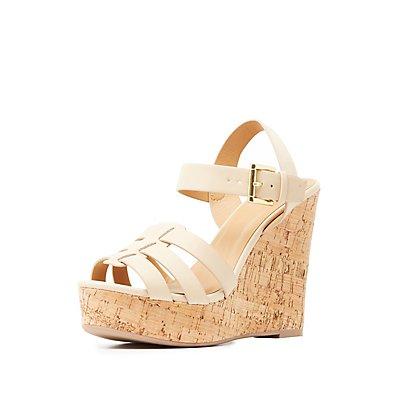 Huarache Cork Wedge Sandals