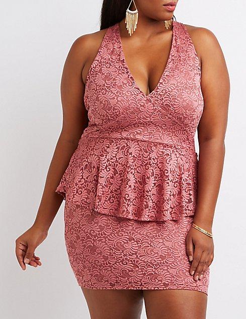 Plus Size Lace Peplum Dress   Charlotte Russe