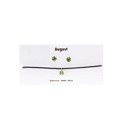 August Birthstone Choker Necklace & Earrings Set