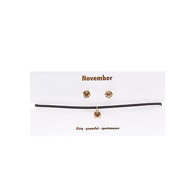 November Birthstone Choker Necklace & Earrings Set