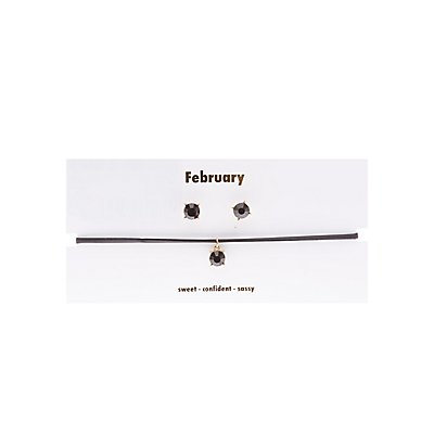 February Birthstone Choker Necklace & Earrings Set