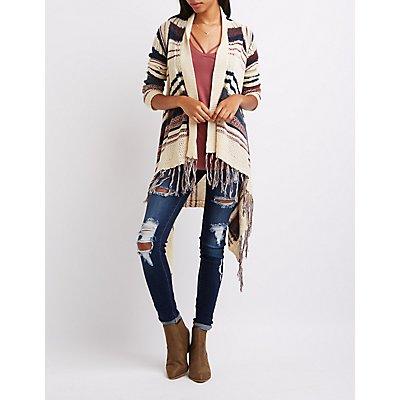 Striped Mixed Knit Cascade Cardigan