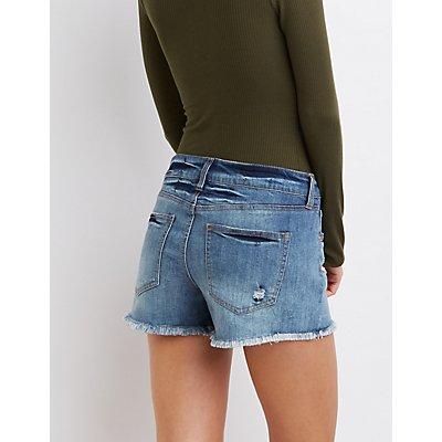 "Refuge ""Girlfriend"" Cut-Off Denim Shorts"
