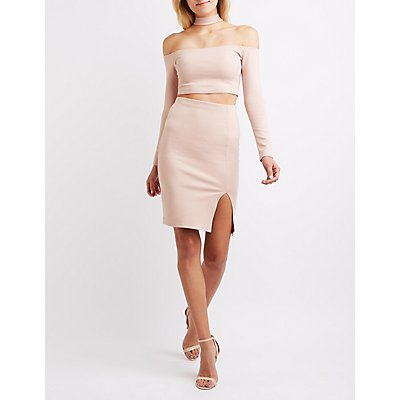 Floating Mock Neck Top & Skirt Hook-Up