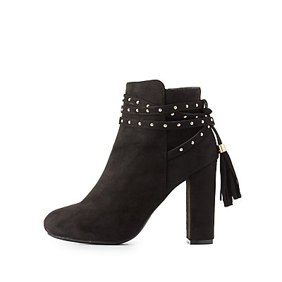 Bamboo Wrapped Tassel Ankle Booties