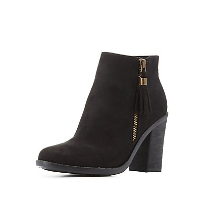 Bamboo Tassel-Zip Ankle Booties