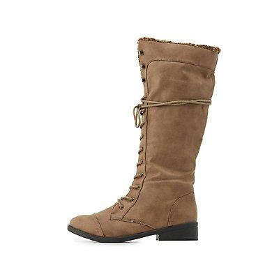 Qupid Knee-High Combat Boots