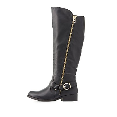 Qupid Knee-High Moto Boots