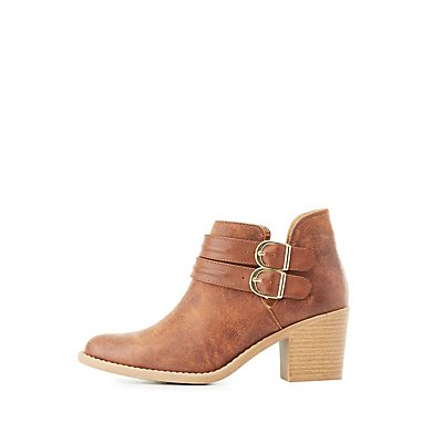 Qupid Buckled Cut-Out Ankle Booties