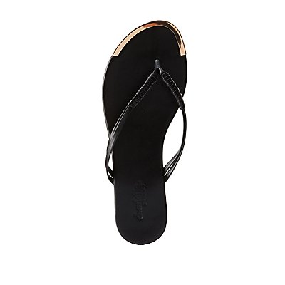Gold-Tipped Thong Sandals