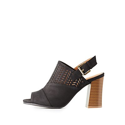 Qupid Laser Cut Peep Toe Mules