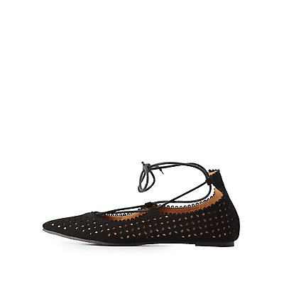 Qupid Laser Cut Lace-Up Flats