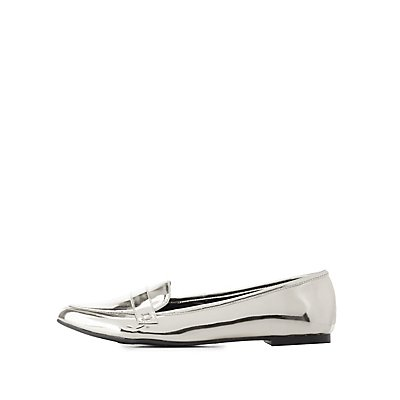 Qupid Metallic Pointed Toe Loafers
