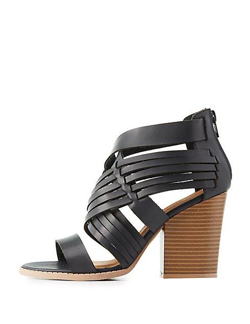22154d13919b Qupid Block Heel Huarache Sandals