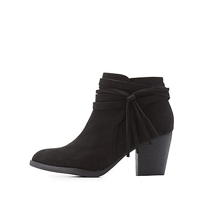Bamboo Ankle Wrapped Tassel Booties