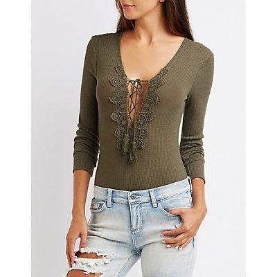 Crochet-Trim Lace-Up Bodysuit