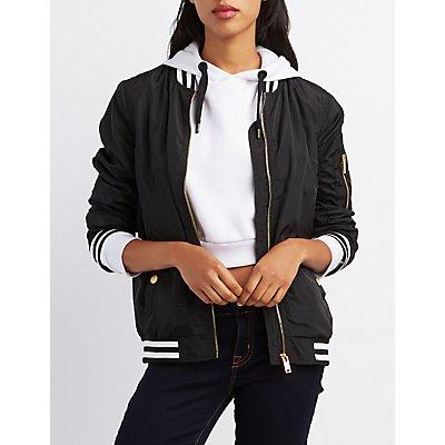 Varsity Stripe Bomber Jacket