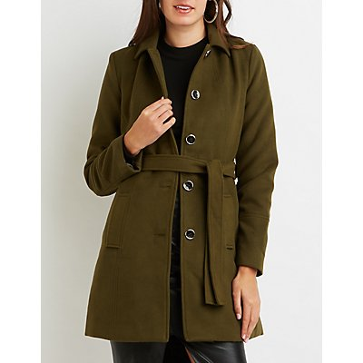 Wool Blend Belted Trench Coat