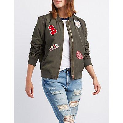 Patch Zip-Up Bomber Jacket