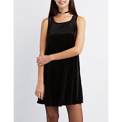 Velvet Lattice-Back Shift Dress