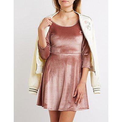 Velvet Scoop Neck Skater Dress