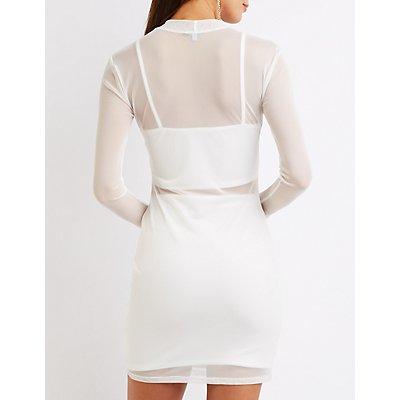 Mesh Overlay Bodycon Dress