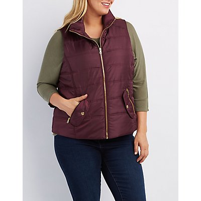 Plus Size Quilted Puffer Vest