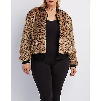 Plus Size Leopard Faux Fur Bomber Jacket