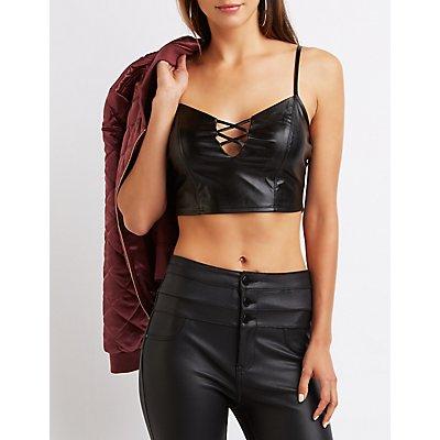 Faux Leather Lattice Crop Top