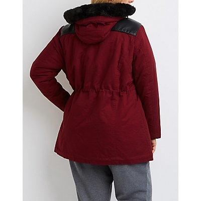 Plus Size Faux Fur & Leather-Trim Anorak Jacket