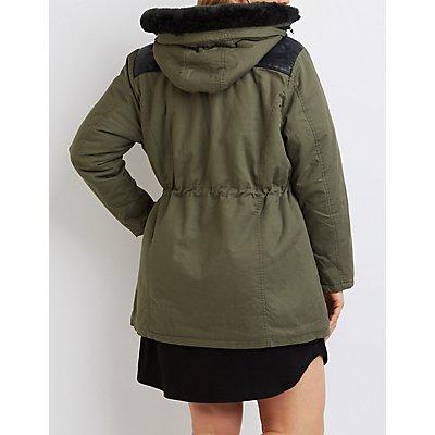 Plus Size Faux Fur & Leather-Trim Anorak Jacket